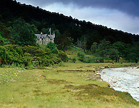A view of Glenfeshie Lodge overlooking the River Feshie