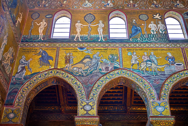 North wall mosaics depicting scenes from the Bible in the Norman-Byzantine medieval cathedral  of Monreale,  province of Palermo, Sicily, Italy.