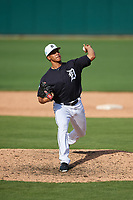 Detroit Tigers relief pitcher Jose Manuel Fernandez (57) delivers a pitch during a Grapefruit League Spring Training game against the Atlanta Braves on March 2, 2019 at Publix Field at Joker Marchant Stadium in Lakeland, Florida.  Tigers defeated the Braves 7-4.  (Mike Janes/Four Seam Images)