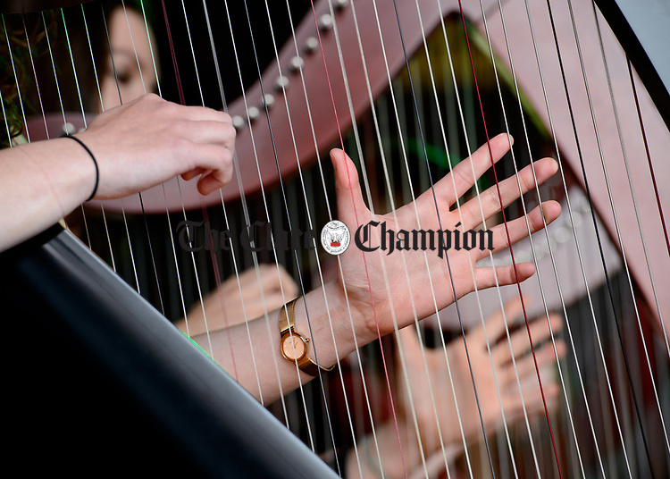 Many Hands, Many Harps...at the official opening of the All-Ireland Fleadh 2017 in Ennis. Photograph by John Kelly.
