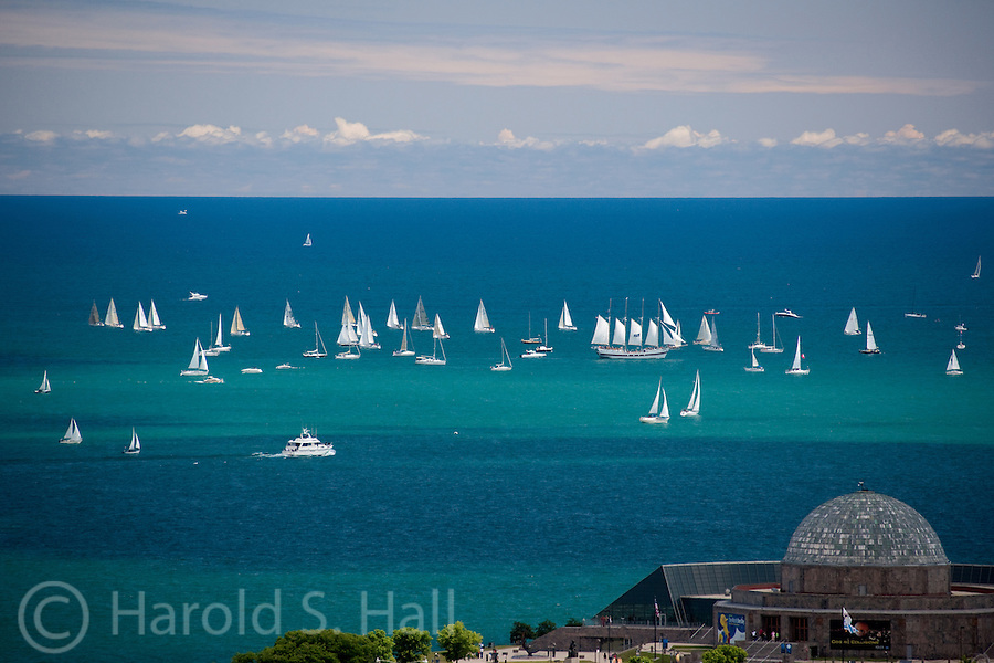 Boats prepare for the start of the annual Race to Mackinac Michigan.