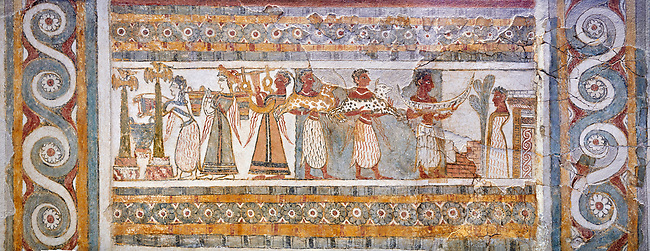 The painted Minoan Hagia Triada Sarcophagus 1370-1300 BC. Heraklion Archaeological Museum.<br /> <br /> The limestone Hagia Triada Sarcophagus is painted with frescoes depicting the ceremonies honouring the dead.