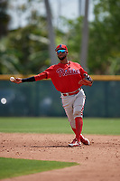 Philadelphia Phillies Jonathan Guzman (11) during a minor league Spring Training game against the Pittsburgh Pirates on March 13, 2019 at Pirate City in Bradenton, Florida.  (Mike Janes/Four Seam Images)