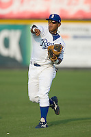 Yenssi Reyes  (6) of the Burlington Royals warms-up at Burlington Athletic Park in Burlington, NC, Saturday, July 26, 2008. (Photo by Brian Westerholt / Four Seam Images)