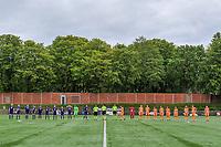 line-up team Anderlecht ( Tine De Caigny (6) , Sarah Wijnants (11) , Britt Vanhamel (4) , Tessa Wullaert (27) , Mariam Abdulai Toloba (19) , Kassandra Missipo (12) , Laura Deloose (14) , Stefania Vatafu (10) , Jarne Teulings (16) , goalkeeper Justien Odeurs (13) , Laura De Neve (8) ) , assistant referee Ercan Eray , referee Baptiste Federico , assistant referee Thibault Holvoet , team Gent  ( Silke Vanwynsberghe (21) , goalkeeper Nicky Evrard (1) , Ella Van Kerkhoven (3) , Heleen Jaques (4) , Emma Van Britsom (6) , Chloe Vande Velde (10) , Jasmien Mathys (12) , Lyndsey Van Belle (14) , Lore Jacobs (17) , Lobke Loonen (19) , Feli Delacauw (44) ) pictured during a female soccer game between RSC Anderlecht Dames and AA Gent Ladies on the fifth matchday of play off 1 of the 2020 - 2021 season of Belgian Womens Super League , saturday 8 th of May 2021  in Brussels , Belgium . PHOTO SPORTPIX.BE | SPP | STIJN AUDOOREN