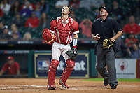 Louisiana Ragin' Cajuns catcher Kole McKinnon (11) and home plate umpire John Schiller track a pop fly during the game against the Mississippi State Bulldogs in game three of the 2018 Shriners Hospitals for Children College Classic at Minute Maid Park on March 2, 2018 in Houston, Texas.  The Bulldogs defeated the Ragin' Cajuns 3-1.   (Brian Westerholt/Four Seam Images)
