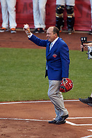 Johnny Bench catches the ceremonial first pitch before the MLB All-Star Game on July 14, 2015 at Great American Ball Park in Cincinnati, Ohio.  (Mike Janes/Four Seam Images)