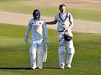 Daniel Bell-Drummond (L) and Zak Crawley of Kent walk off at the end of play during Kent CCC vs Lancashire CCC, LV Insurance County Championship Group 3 Cricket at The Spitfire Ground on 24th April 2021