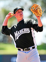 8 March 2010: Florida Marlins' third baseman Matt Dominguez in action during a Spring Training game against the Washington Nationals at Space Coast Stadium in Viera, Florida. The Marlins defeated the Nationals 12-2 in Grapefruit League action. Mandatory Credit: Ed Wolfstein Photo