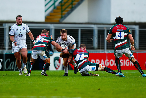 21st November 2020; Welford Road Stadium, Leicester, Midlands, England; Premiership Rugby, Leicester Tigers versus Gloucester Rugby; Ruan Ackerman of Gloucester Rugby is stopped in attack