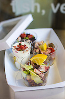 Italie, Vénétie, Venise:   Restaurant: Lino Fritto, Campo de le Becarie - salade de poulpe et de  céleri et  salade de la mer  // Italy, Veneto, Venice: