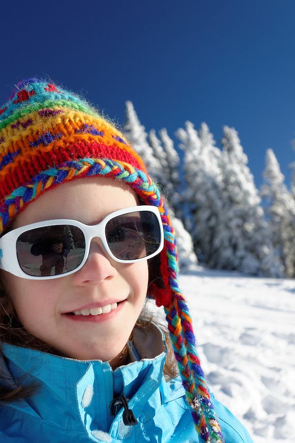 Girl in snowy mountains, Hurricane Ridge, Clallam County, Olympic National Park, Washington, USA