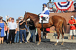 Shackleford (no. 2), ridden by John Velazquez and trained by Dale Romans, wins the 119th running of the grade 1 Metropolitan Handicap for  three year olds and upward on May 28, 2012 at Belmont Park in Elmont, New York.  (Bob Mayberger/Eclipse Sportswire)