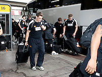 Photo: Richard Lane/Richard Lane Photography. London Wasps depart for Abu Dhabi for their LV= Cup game against Harlequins on 30st January 2011. 25/01/2011. London Wasps depart for Abu Dhabi at Heathrow aiport.