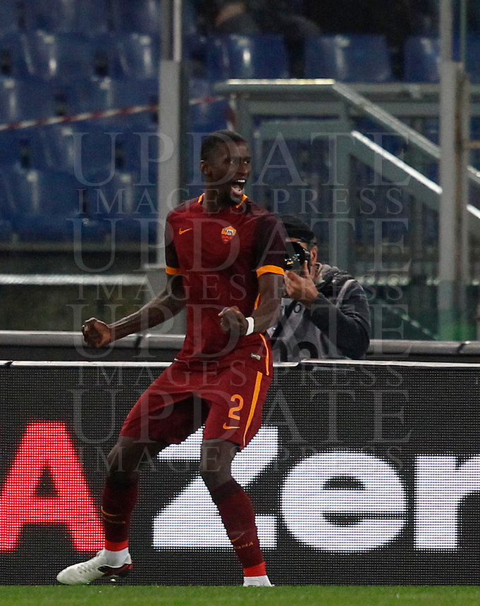 Calcio, Serie A: Roma vs Milan. Roma, stadio Olimpico, 9 gennaio 2016.<br /> Roma's Antonio Ruediger celebrates after scoring during the Italian Serie A football match between Roma and Milan at Rome's Olympic stadium, 9 January 2016.<br /> UPDATE IMAGES PRESS/Riccardo De Luca
