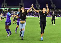Orlando, FL - Saturday July 20, 2019:   Alex Morgan #13, Kristen Edmonds #12 during a regular season National Women's Soccer League (NWSL) match between the Orlando Pride and the Sky Blue FC at Exploria Stadium.