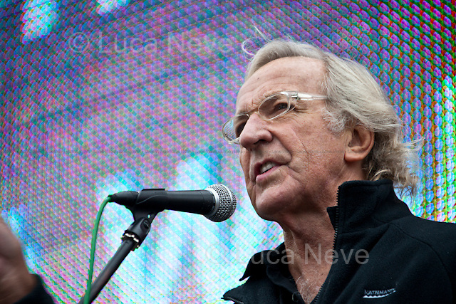 """John Pilger, journalist - London 2011 <br /> <br /> London, 08/10/2011. Today Trafalgar Square was the stage of the """"Antiwar Mass Assembly"""" organised by The Stop The War Coalition to mark the 10th Anniversary of the invasion of Afghanistan. Thousands of people gathered in the square to listen to speeches given by journalists, activists, politicians, trade union leaders, MPs, ex-soldiers, relatives and parents of soldiers and civilians killed during the conflict, and to see the performances of actors, musicians, writers, filmmakers and artists. The speakers, among others, included: Jeremy Corbin, Joe Glenton, Seumas Milne, Brian Eno, Sukri Sultan and Shadia Edwards-Dashti, Hetty Bower, Mark Cambell, Sanum Ghafoor, Andrew Murray, Lauren Booth, Kate Hudson, Sami Ramadani, Yvone Ridley, Mark Rylance, Dave Randall, Roger Lloyd-Pack, Rebecca Thorn, Sanasino al Yemen, Elvis McGonagall, Lowkey (Kareem Dennis), Tony Benn, John Hilary, Bruce Kent, John Pilger, Billy Hayes, Alison Louise Kennedy, Joan Humpheries, Jemima Khan, Julian Assange, Lindsey German, George Galloway. At the end of the speeches a group of protesters marched toward Downing Street where after a peaceful occupation the police made some arrests."""