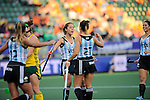 The Hague, Netherlands, June 01: Noel Barrionuevo #27 of Argentina is congratulated by teammates after scoring the 3:0 during the field hockey group match (Women - Group B) between Argentina and South Africa on June 1, 2014 during the World Cup 2014 at Kyocera Stadium in The Hague, Netherlands. Final score 4:1 (2:0) (Photo by Dirk Markgraf / www.265-images.com) *** Local caption ***
