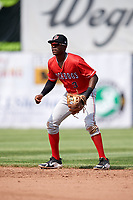 Batavia Muckdogs second baseman Demetrius Sims (3) during a game against the Auburn Doubledays on June 17, 2018 at Falcon Park in Auburn, New York.  Auburn defeated Batavia 10-6.  (Mike Janes/Four Seam Images)