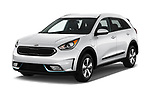 2018 KIA Niro LX PHEV 5 Door Hatchback angular front stock photos of front three quarter view