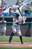 Mahoning Valley Scrappers shortstop Elvis Perez (6) at bat during the second game of a doubleheader against the Auburn Doubledays on July 2, 2017 at Falcon Park in Auburn, New York.  Mahoning Valley defeated Auburn 3-2.  (Mike Janes/Four Seam Images)