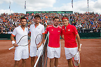 15-09-12, Netherlands, Amsterdam, Tennis, Daviscup Netherlands-Suisse, Doubles, L.T.R.: the Dutch team Jean-Julien Rojer with Robin Haase and the Suisse team with Stanislas Wawrinka and Roger Federer
