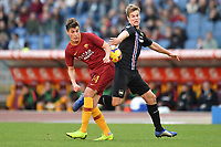 Patrik Schick of AS Roma and Joachim Andersen of Sampdoria compete for the ball during the Serie A 2018/2019 football match between AS Roma and UC Sampdoria at stadio Olimpico, Roma, November, 11, 2018 <br />  Foto Andrea Staccioli / Insidefoto