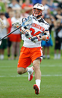 Virginia Cavaliers Blake Riley (24) takes a shot during the game against the Johns Hopkins in Charlottesville, VA. Johns Hopkins defeated Virginia 11-10 in overtime. Photo/Andrew Shurtleff
