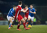St Johnstone v Aberdeen…27.01.21   McDiarmid Park   SPFL<br />Chris Kane gets the better of Matty Kennedy<br />Picture by Graeme Hart.<br />Copyright Perthshire Picture Agency<br />Tel: 01738 623350  Mobile: 07990 594431