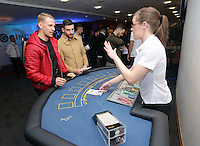 Pictured: Daniel Alfei at the roulette table<br /> Re: Swansea City FC Christmas party at the Liberty Stadium, south Wales, UK.
