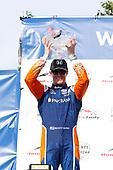 Scott Dixon, Chip Ganassi Racing Honda celebrates on the podium