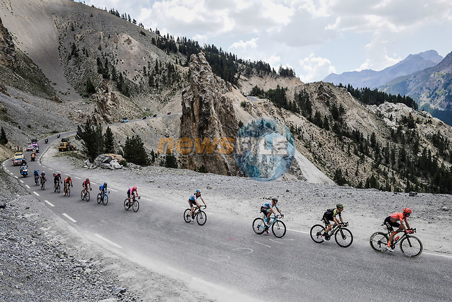 Part of the 34 man breakaway group enter the Casse Deserte before climbing Col d'Izoard during Stage 18 of the 2019 Tour de France running 208km from Embrun to Valloire, France. 25th July 2019.<br /> Picture: ASO/Pauline Ballet | Cyclefile<br /> All photos usage must carry mandatory copyright credit (© Cyclefile | ASO/Pauline Ballet)