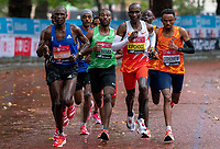 4th October 2020, London, England; 2020 London Marathon; Eliud Kipchoge (KEN), Sisay Lemma (ETH), Mosinet Geremew (ETH) and Vincent Kipchumba (KEN) during the Elite Men's RaceThe historic elite-only Virgin Money London Marathon taking place on a closed-loop circuit around St James's Park in central London on Sunday 4 October 2020.