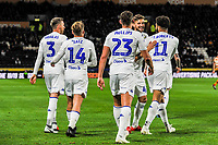Leeds United walk back to half way 1-0 up during the Sky Bet Championship match between Hull City and Leeds United at the KC Stadium, Kingston upon Hull, England on 2 October 2018. Photo by Stephen Buckley/PRiME Media Images.