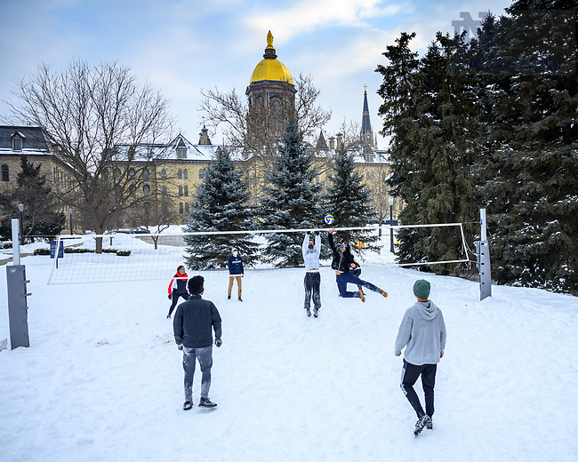 February 19, 2021; Students play volleyball in the snow. (Photo by Matt Cashore/University of Notre Dame)