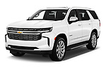 2021 Chevrolet Tahoe Premier 5 Door SUV Angular Front automotive stock photos of front three quarter view