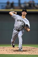 Starting pitcher Garrett Cave (46) of the Augusta GreenJackets delivers a pitch delivers a pitch in a game against the Columbia Fireflies on Friday, April 6, 2018, at Spirit Communications Park in Columbia, South Carolina. Columbia won, 7-2. (Tom Priddy/Four Seam Images)