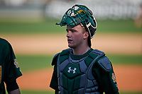 Siena Saints catcher Carson Dunkel (3) during a game against the UCF Knights on February 17, 2019 at John Euliano Park in Orlando, Florida.  UCF defeated Siena 7-1.  (Mike Janes/Four Seam Images)