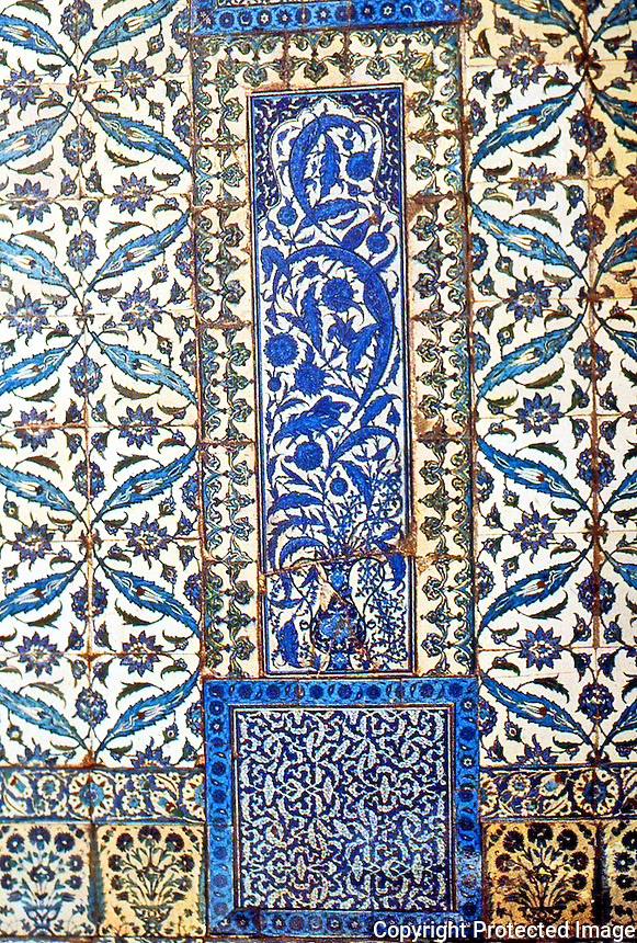 World Civilization:  Topkapi Palace--the Circumcision Pavilion.  Details of tilework. The central panel of cobalt and turquoise tiles with pheasants and feathery leaves.