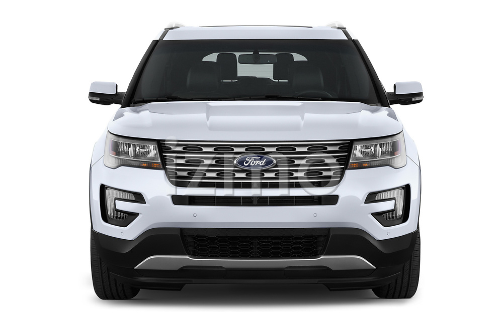 Car photography straight front view of a 2017 Ford Explorer Limited 5 Door SUV Front View