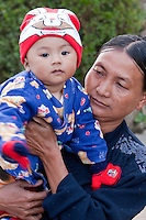 Myanmar, Burma, Kalaw.  Burmese Mother and Little Boy.