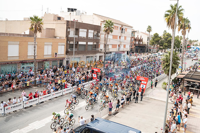 The start of Stage 9 of La Vuelta d'Espana 2021, running 188km from Puerto Lumbreras to Alto de Velefique, Spain. 22nd August 2021.    <br /> Picture: Cxcling | Cyclefile<br /> <br /> All photos usage must carry mandatory copyright credit (© Cyclefile | Cxcling)