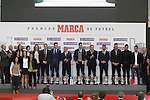 Atletico de Madrid´s President Enrique Cerezo, coach Simeone, Real Madrid´s Cristiano Ronaldo, referee Mateu Lahoz and Female Spanish football selection pose during the MARCA Football Awards ceremony in Madrid, Spain. November 10, 2014. (ALTERPHOTOS/Victor Blanco)