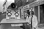 SNP Scottish National Party logo. Prospective MP Alex Ewing campaigning in 1979 Glasgow Cathcart.  He did not win and came third to labour and then Conservative. 1970s. Tow of his helpers/
