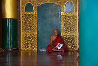 Monk reading Magazine, Shwedagon Pagoda, Yangon