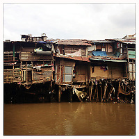 Slums in central Jakarta, Indonesia.