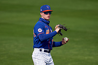 New York Mets outfielder Pete Crow-Armstrong  (91) warms up during a Major League Spring Training game against the St. Louis Cardinals on March 19, 2021 at Clover Park in St. Lucie, Florida.  (Mike Janes/Four Seam Images)