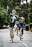 Pix: Shaun Flannery/shaunflanneryphotography.com<br /> <br /> COPYRIGHT PICTURE>>SHAUN FLANNERY>01302-570814>>07778315553>><br /> <br /> 23rd June 2013.<br /> Doncaster Wheelers Cycling Club.<br /> The Danum Trophy Road Race.<br /> Winner - Ashley Proctor of Bike BoxAlan/Whiston Velo  cerebrates victory.
