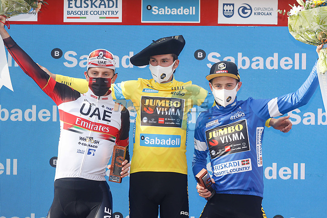 Primoz Roglic (SLO) Team Jumbo-Visma wins the overall with team mate Jonas Vingegaard (DEN) Jumbo-Visma in 2nd place and Tadej Pogacar (SLO) UAE Team Emirates 3rd at the end of Stage 6 of the Itzulia Basque Country 2021, running 111.9km from Ondarroa to Arrate, Spain. 10th April 2021.  <br /> Picture: Luis Angel Gomez/Photogomezsport | Cyclefile<br /> <br /> All photos usage must carry mandatory copyright credit (© Cyclefile | Luis Angel Gomez/Photogomezsport)