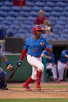 Clearwater Threshers Baron Radcliff (26) bats during a game against the Dunedin Blue Jays on May 18, 2021 at BayCare Ballpark in Clearwater, Florida.  (Mike Janes/Four Seam Images)